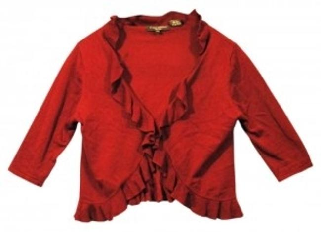 Preload https://item2.tradesy.com/images/linda-matthews-ruby-red-ruffled-new-cardigan-size-12-l-159901-0-0.jpg?width=400&height=650