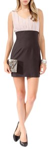 Forever 21 21 Pink Brown Blush Mini Zip Colorblock Club Dress