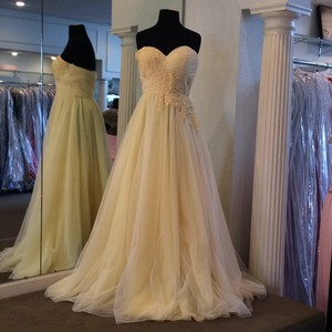 Sherri Hill Ivory/Yellow Chiffon Destination Wedding Dress Size 8 (M)