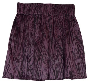 Dolce Vita Silk Stretch Waistband Mini Skirt Purple & Black