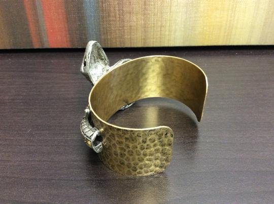 Other Satin Hamilton Gold Aurum Stones Serpent on Hammered Cuff