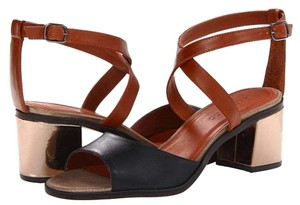 Bernardo Leather Strappy Pewter Chunky Pewter/Luggage Sandals