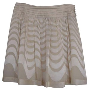BCBGMAXAZRIA Silk Office Attire Bcbg Mini Skirt Off white