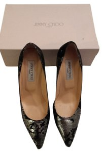 Jimmy Choo Suede Metallic Black and Silver Pumps