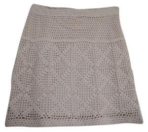 Urban Outfitters Stretchy Knit Spring Mini Skirt Cream