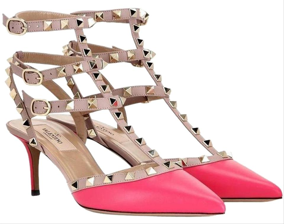 7ea4be506 Valentino Fuchsia Pink 37.5 Leather Rockstud Caged Kitten T Strap Pumps