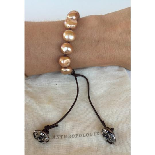 Anthropologie Anthropologie gold pearl, leather & silver bracelet