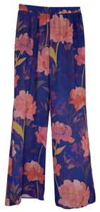 Everly Flowy Bright Flare Pants Blue with pink florals