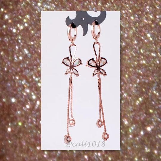 Other Restock White Topaz Rose Gold Filled Butterfly Earrings