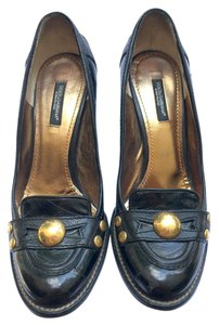 Dolce&Gabbana Leather Gold Stud Gold Gold Hardware Oxford Black Pumps