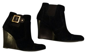 Tory Burch Suede Wedge Black Boots