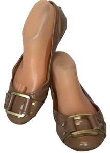 Jimmy Choo Buckle Patent Leather Nude Flats