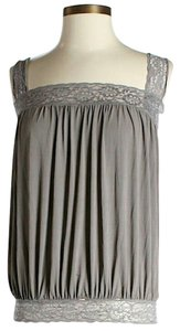 Mason by Michelle Mason Lace Trim Open-back Top Grey