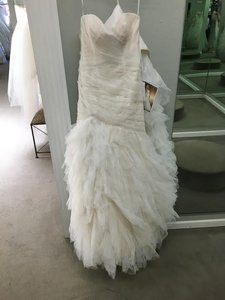 Essense of Australia Ivory Tulle / Champagne & Lace D1463 Feminine Wedding Dress Size 8 (M)