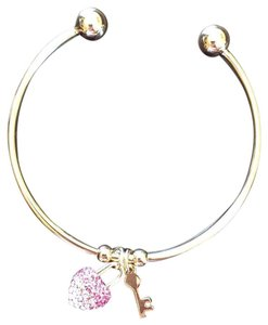 Sevil 18- Karat Gold Plated Crystal Elements Charm Bangle