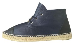 Chanel Leather Navy Espadrilles Espadrille High-top Navy Blue Flats