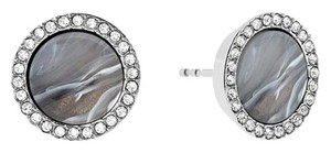 Michael Kors Michael Kors MKJ5187040 Women's Gray Silver tone Pave Crystals Post/Stud Earrings NEW!