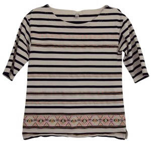 J.Crew Crew Cut Top Black & White Striped with neon thread accents