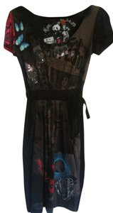 Desigual Black Multi Embroidered Logo Dress