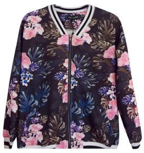 The Fifth Label Bomber Activewear Black with pink florals Jacket