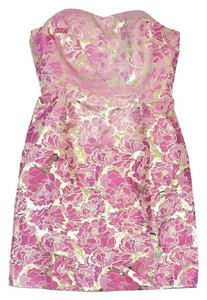 Lilly Pulitzer short dress Pink & Gold Floral Strapless on Tradesy