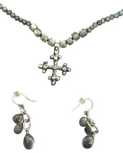 Blue/Grey stone Goth-like Cross necklace and earring set