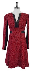 Nanette Lepore short dress Red & Black Leopard Print Silk Leather on Tradesy