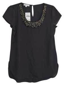 Socialite Jeweled Neckline Top Navy w/ pewter jewels on collar
