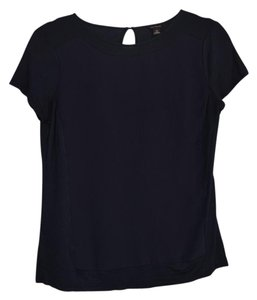 Ann Taylor Blue Silk Cotton Top Navy