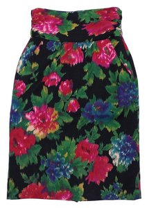 Escada Multi Color Floral Wool Skirt