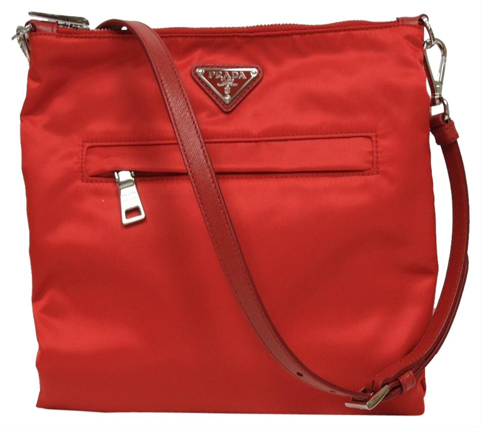 66864fe6c5aa Prada Tessuto Crossbody Bt1023 Red Nylon & Saffian Leather Messenger ...