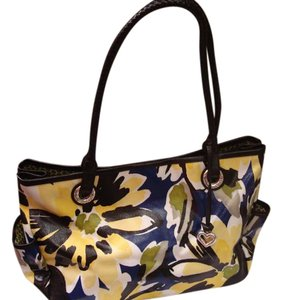 Brighton Floral Prints Colorful Tote in blue and yellow black and green