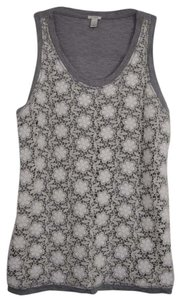 J.Crew Knit Soft Top Grey with White lace florals