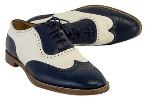 Ralph Lauren Navy White Leather Oxfords Flats