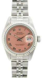 Rolex Rolex DateJust Stainless Steel Salmon Roman Dial Watch 69174