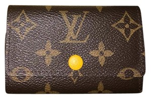 Louis Vuitton Monogram Yellow Key Holder Brown Clutch