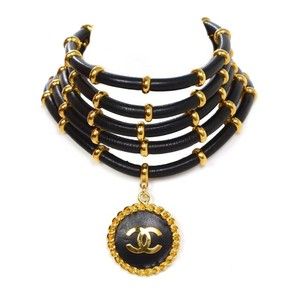 Chanel Chanel Vintage '89 Black & Gold Multi-Strand Choker Necklace