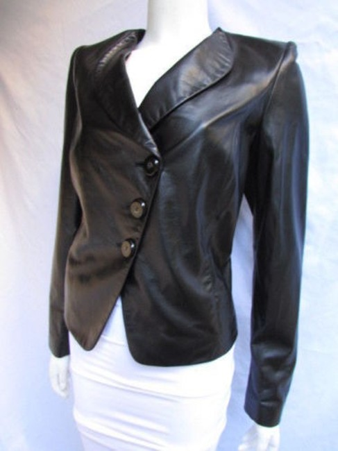 Armani Collezioni Women Soft Lambskin Leather Fashion Purple 1044 Black Jacket