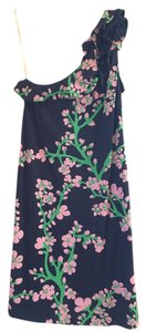 Lilly Pulitzer short dress Bright Navy and Cherry Wine One Ruffle on Tradesy