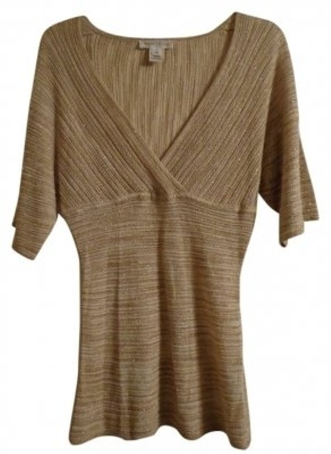 Item - Sparkly And Tan Brown & Cream Top