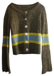 Orla Kiely Striped Color-blocking Knit Heathered Heather Colorblock Crew-neck Stripe Cardigan