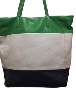 Cynthia Rowley Tote in Green/White/Navy Pebbled Leather