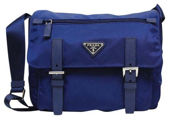 12216ee7c881 Prada Tessuto Pattina Messenger Bt0953 Royal Blue Nylon Leather Cross Body  Bag - Tradesy