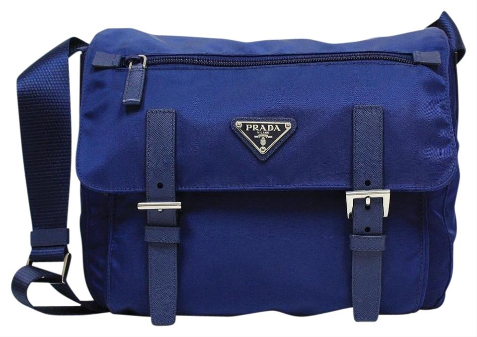 38cf6e423493b4 Prada Pattina Tessuto Messenger Bt0953 Royal Blue Nylon Leather ...