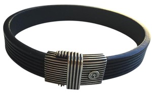 David Yurman David Yurman Men's Sterling Silver and Black Royal Cord Bracelet