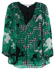 Diane von Furstenberg Top green and black