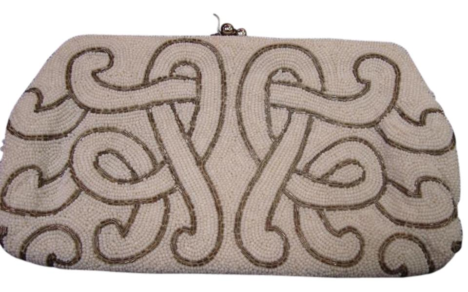 Josef Seibel Vintage Bags Beaded Evening White And Pewter Clutch
