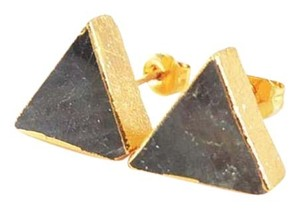 Other Triangle Gray Natural Stone Stud Earrings
