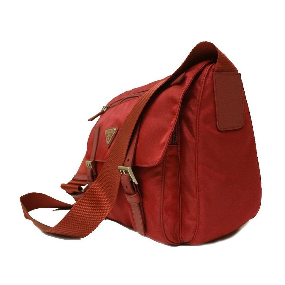 knockoff prada purses - Prada Tessuto Pattina Nylon And Leather Messenger Red Cross Body ...