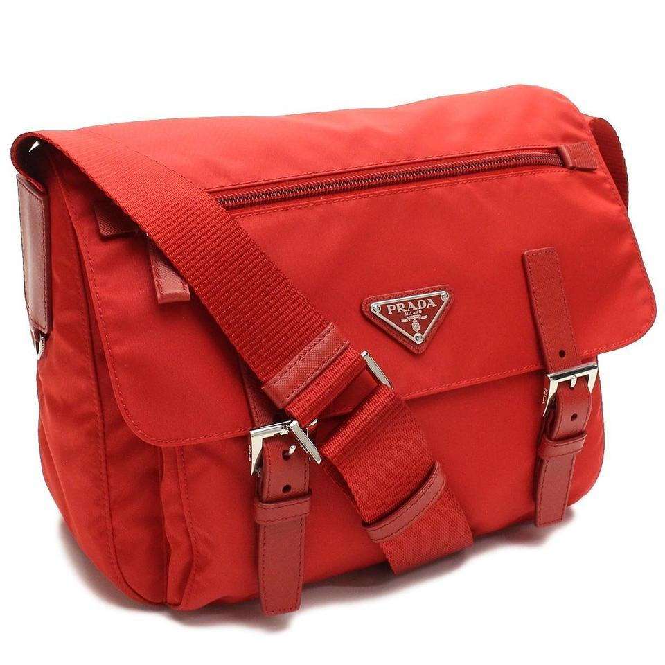 prada black clutch bag - Prada Tessuto Pattina Nylon And Leather Messenger Red Cross Body ...